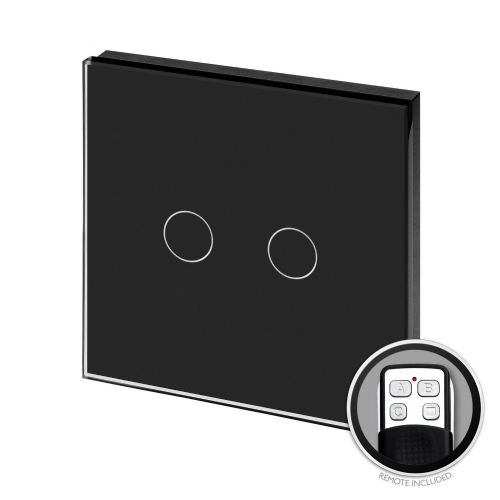 RetroTouch Touch & Remote On/Off Light Switch 2 Gang 1 Way Black Glass PG 00371